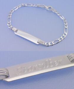Echt 925 Silber ID Gravurarmband GRAVUR Armband 19 cm Panzerarmband rhodiniert