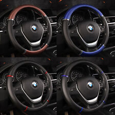 "Sport Car Steering Wheel Cover 38cm/15"" Deluxe PU Leather Carbon Fiber Tuning"