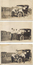 Three Real Postcard Photographs of the same Ford Model T Ford (all different)