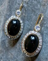 Stamped Signed Italian Sterling Silver 925 Onyx Diamond Hanging Pierced Earrings