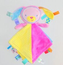 Genuine Taggies Patchkin Pals Pink Bunny Baby Security Blanket Blue Green P20