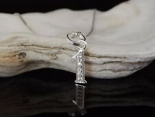 """Sterling Silver 925 CZ Number One No. 1 Pendant 16/18/20"""" Necklace Gift Box"""