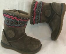 Girls Clarks Brown Suede Boots Size 6E (804ww)