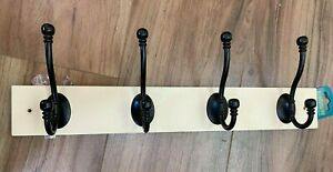 4 Hook Wall Mounted Coat Rack Hat Clothes heavy Duty Free P&P