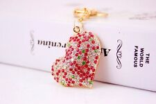 Red Sparkling Crystal Diamante Love Heart Shaped Handbag Charms Bag Keyrings