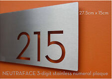 NEUTRAFACE Stainless Steel 3-digit House Number / Numeral Plaque