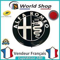 Embleme Capot / Coffre Alfa Romeo 74mm Métal Sigle Emblem Badge Logo Noir Chromé