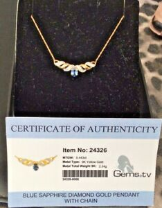 """9ct Yellow Gold Blue Sapphire & Diamond Necklace - 19"""" - Certified"""