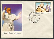 """Briefumschlag  mit Sonderstempeln """"Papst-2 Besuch in Polen """" -und Mi.Nr.2869 /16"""