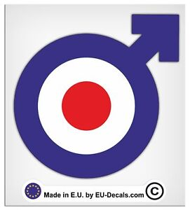 100mm-4'' Male Symbol Blue target Laminated Decals Stickers for Vespa GTS GTV