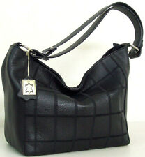 Borsa donna in vera pelle a mano e spalla nera Made in Italy 1576