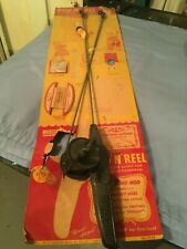 """""""Vintage"""" Late 1940's Kids Fishing Rod And Reel Brand New Still Attached To Card"""