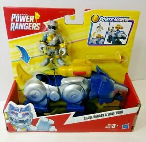 Hasbro Mighty Morphin Power Rangers Silver Ranger & Wolf Zord Action Figures Toy