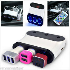Dual USB Port 5 Way Car Cigarette Lighter Socket Splitter 12-24V Charger Adapter