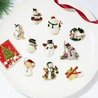 2019 Crystal Rhinestone Christmas Snowman Angel Brooch Pin Party Women Xmas Gift
