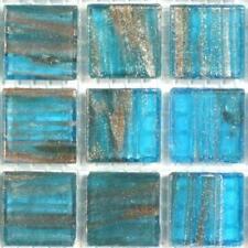 75 Gold Blue Green Vitreous Glass Mosaic 20mm Tiles Ga62
