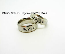 JOKER & HARLEY Hand Stamped Stainless Steel Rings Set or single purchase M0006