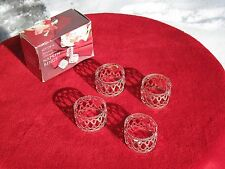"Genuine Silverplated set of 4 Napkin Rings 1-1/4""H 1-5/8""Dia LV14528"