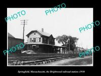 OLD HISTORIC PHOTO SPRINGFIELD MASSACHUSETTS BRIGHTWOOD RAILROAD STATION c1930