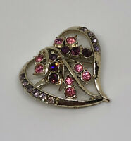 1980s Vintage Brooch Gold Tone & Crystal Heart Pretty Sparkly Costume Jewellery