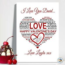 VALENTINES DAY GIFT PRINT A4 LOVE HEART TEXT boyfriend husband wife valentine's