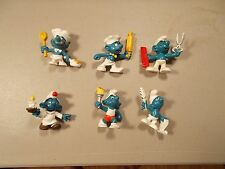 Lot of 6 Vintage Smurf  Peyo Schleich  Figures with BARBER QUIL TORCH lot 18