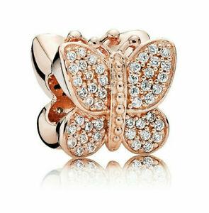 Genuine Pandora ALE Rose Gold Sparkling Butterfly Charm 781257CZ