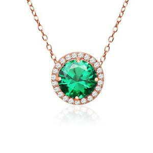 Round Halo Simulated Emerald & CZ Necklace in Rose Gold Plated Sterling Silver