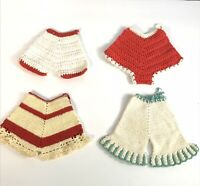 SET OF 4 VINTAGE HANDMADE BLOOMERS CROCHET HOT PADS POTHOLDERS RED TURQUOISE
