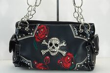 Brand New Black WITH  Red Roses Skull purse,