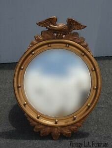 Antique French Country Gold 13 Colonies Wall Mantle Convex Mirror w Eagle Motif