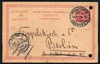Egypt 1902 Alexandria to Berlin Antique Postcard p/m 10/07/1902 on Stamp Imprint