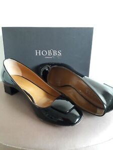Hobbs Size 7 (40) Aube Trim Pumps, block heel black patent leather