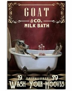 Red Milk Bath Goat Vertical Poster