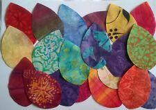 Batik Large Leaves fabric Pack remnants patchwork bundles 100% cotton - Set 2