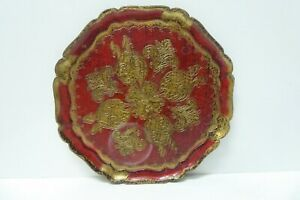 VINTAGE ITALIAN FLORENTINE DECORATIVE HARD PLASTIC SERVING TRAY MADE IN ITALY