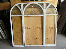 ~ 3 PIECE SET ANTIQUE STAINED GLASS WINDOWS GOTHIC ~ ARCHITECTURAL SALVAGE