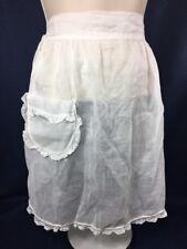 Vintage Half Apron White Sheer Lace Hem Pocket Fancy Bride Hostess Tie Back