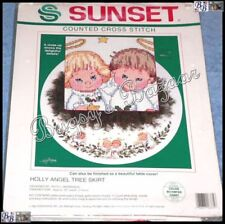 Sunset HOLLY ANGEL TREE SKIRT Christmas Counted Cross Stitch Kit - Ruth Morehead