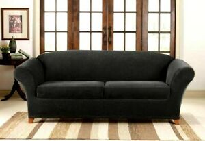 NEW Sure Fit Stretch Pique 3 piece sofa Slipcover black waffle weave protector