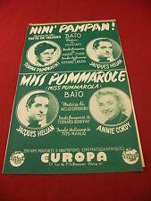 Partitur Nini 'Pampan! Baio Miss Pommarole Jacques Hélian Annie Cordy Pampanini