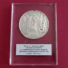William I 44 mm BCS .999 Fina Plata Prueba De Medalla