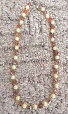 """Fashion Assortment Amber Bead Necklace w/ Pearls 19"""""""