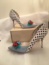 ddbeb1971f9 Sophia Webster Flower Embellished Blue White Fun Party High Heel Shoes IT41  US 9