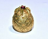 Vintage CINER Gold Pineapple Brooch Yellow Pink Rhinestone Gold Tone Signed