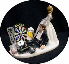 Man Cave! Darts board Wedding Cake Topper Bride & Groom Top FUNNY Video, Beer
