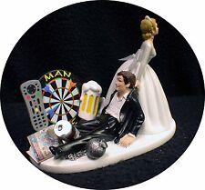 Man Cave! Darts board Wedding Cake Topper Bride & Groom Top FUNNY Video, Beer