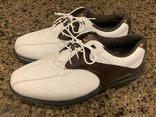 FootJoy Greenjoys Men's 9.5 W Wide Spikeless Golf Shoes White/Brown 45351