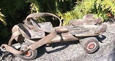 Vintage FLYAWAY Metal Adjustable rollerskates Leather Strap Sears Roebuck Skates