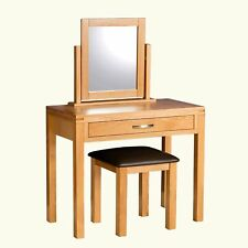 Modern Oak Dressing Table Set Mirror Stool Vanity Desk Makeup Drawers Bedroom